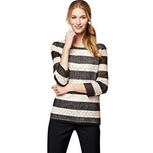 Talbots Woman Eyelet Crotchet Striped Blouse X